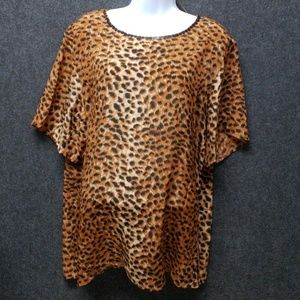 Diane Gilman 100%silk blouse animal print 1x